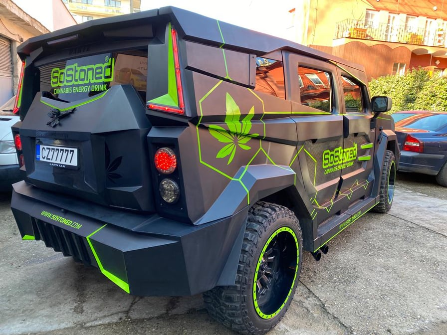 Dartz Is So Stoned It's Promoting An Energy Drink On Its Rebodied Hummer H2